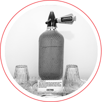 carbonated water bottle with metal wire coat from the communist era
